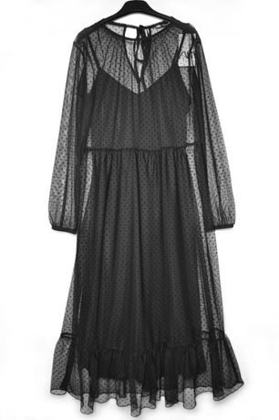 """Роскошное черное свободное сетчатое платье с вышивкой """"плюмети"""""""