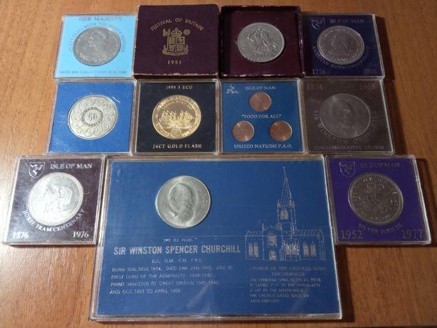 Юбилейные монеты в капсулах 5 шиллингов 1951 Мэн Джерси Черчилль фунт