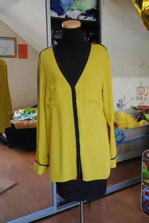 Przewiewna długa bluzeczka/tunika musztardowa rozmiar 42