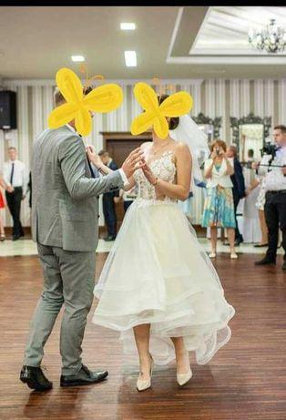 Asymetryczna pozłacana suknia ślubna!