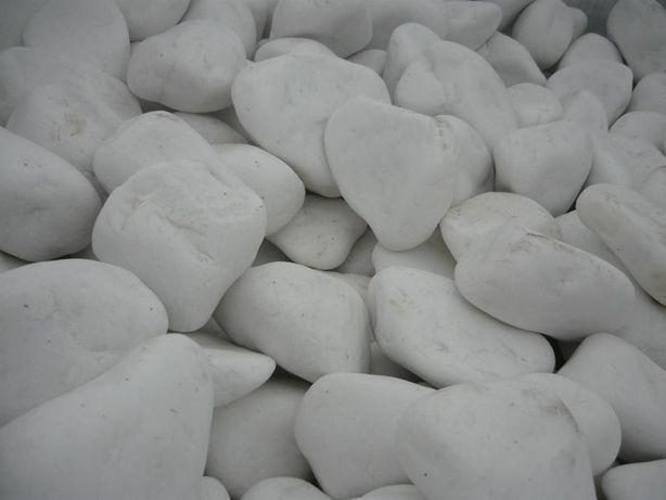otoczaki śnieżnobiałe, greckie, otoczak biały marmurowy, ogrodowy
