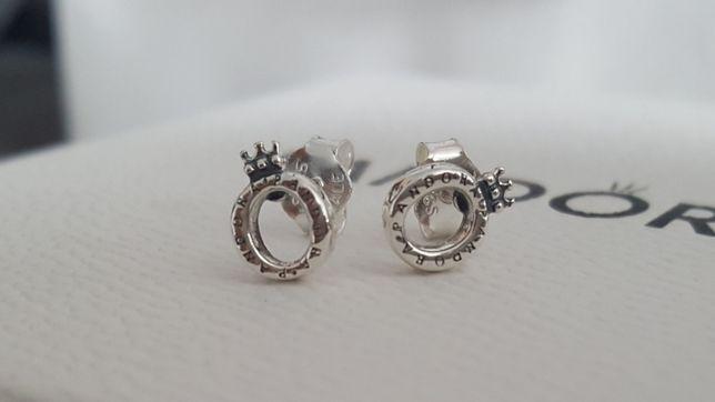 Kolczyki Pandora klasyczne z logo korona srebro S925