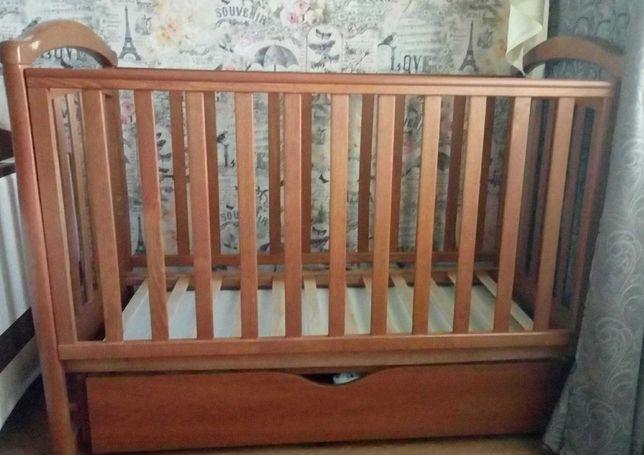 Детская кроватка Верес Соня ЛД6 ольха (маятник+ящик) с матрасиком