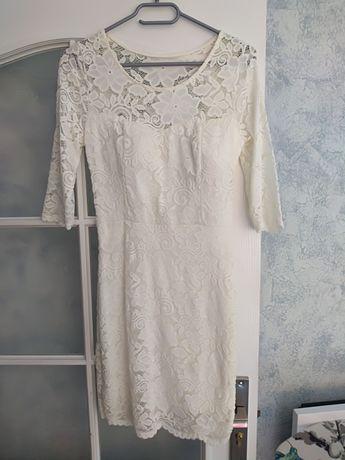 Sukienka ślubna biała ecru XS S M koronkowa koronka