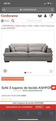Sofa Ashford cinza Conforama