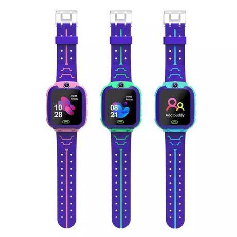 Детские умные смарт часы Q12 телефон c GPS розовые, голубые, бирюзовые