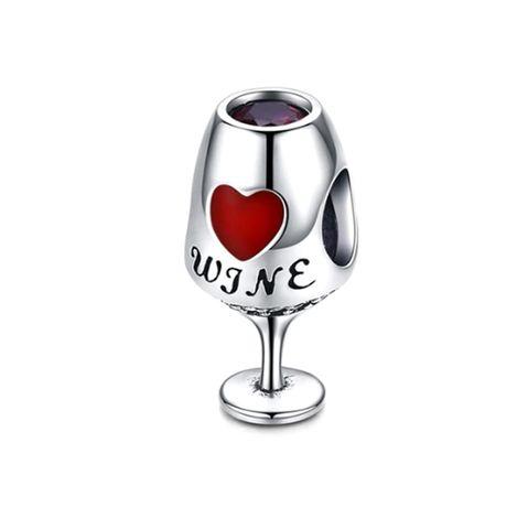Charms PANDORA srebro 925 wino czerwone serce cyrkonia emalia