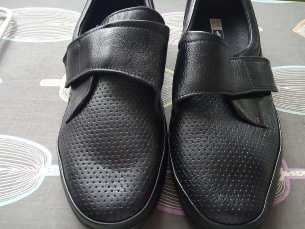 Buty dla starszej pani r. 6,5 NOWE na rzep SKÓRA naturalna mięciutka