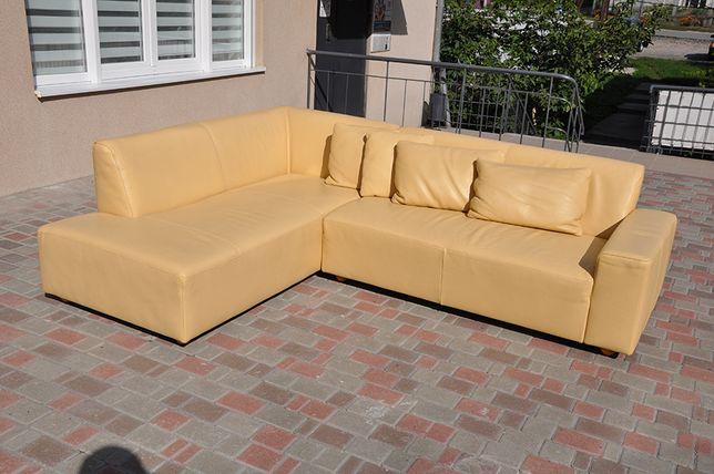 Диван из натуральной кожи! Уголок! Кожаный угловой диван. Желтый