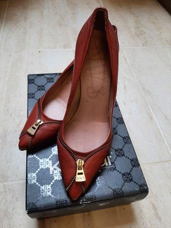 Włoskie buty skórzane kolor rudy rozm. 40
