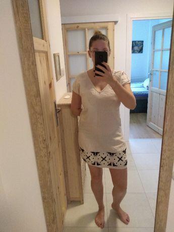 Biała sukienka ZARA z haftowanym wzorem, rozmiar S