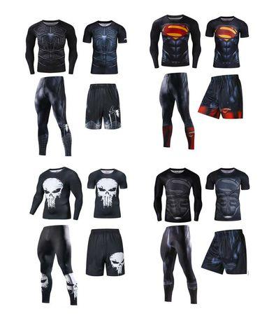 Комплект Каратель, Супермен 3 в 1 рашгард, шорты, леггинсы, футболка.