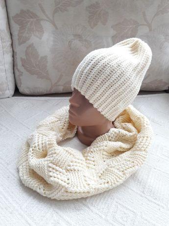 Новый деми комплект молочная шапка и хомут