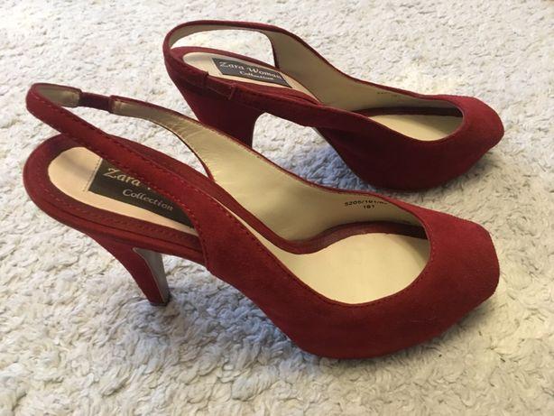 Szpilki sandały Zara czerwone zamsz skóra 39