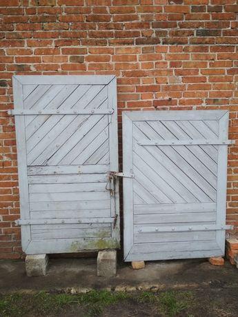 Dębowe drzwi drewniane, gospodarcze, do komórki, garażu, stodoły