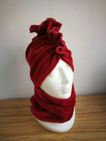 Turban + komin welur bordo rubin