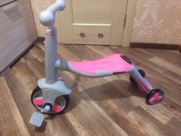 Детский самокат трансформер 3в1 (беговел, самокат, велосипед)