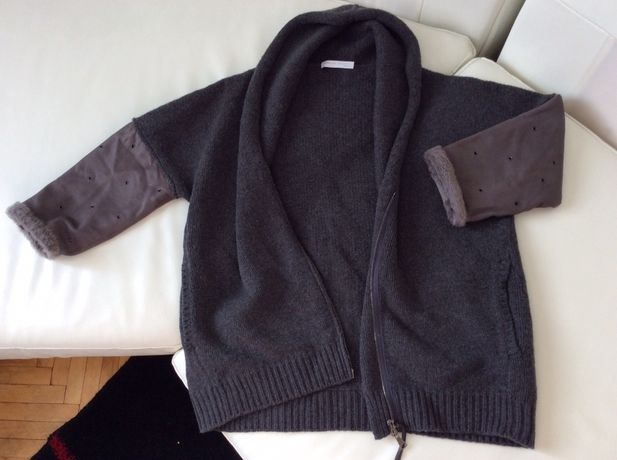 Fabiana Filippi куртка бомбер кардиган кожа merino wool Brunello