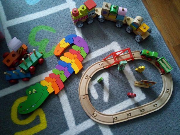 Drewniane zabawki pociąg sensoryczny puzzle