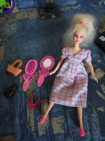 Кукла беременная 30 см с сумкой расчёской и зеркалом