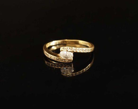 Złoto 585 - złoty pierścionek z cyrkoniami rozmiar 11