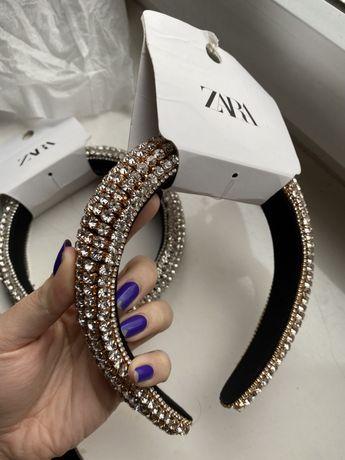 Złota opaska do włosów ZARA cyrkonie ozdobna kryształowa błyszcząca