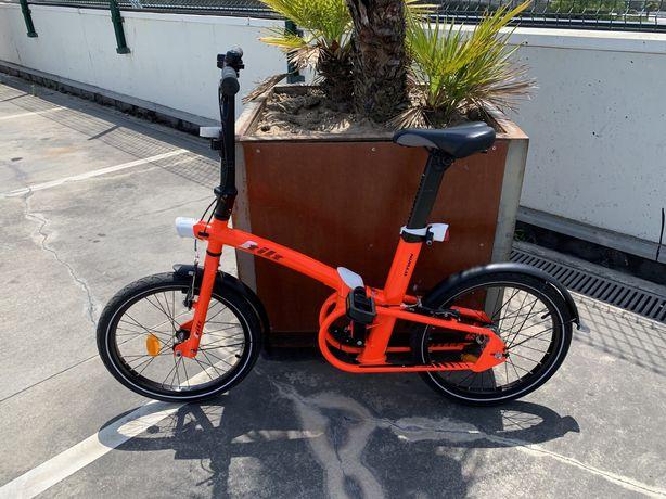 Bicicleta dobrável BTWIN TILT 7 720 vermelha neon