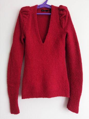 Rubinowy wełniany sweter z dekoltem V - Victoria's Secret
