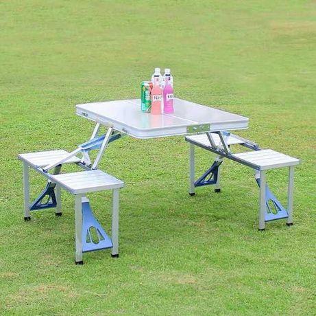 Походный стол с 4 стульями travel table раскладной алюминиевый