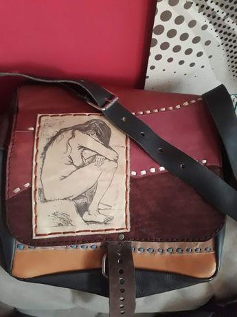 Torba hand made, skóra,stylizowana na vintage,patchwork,rzemiosło,akt