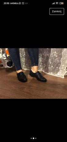Super firma skórzane buty oxfordy, oficerki super okazja