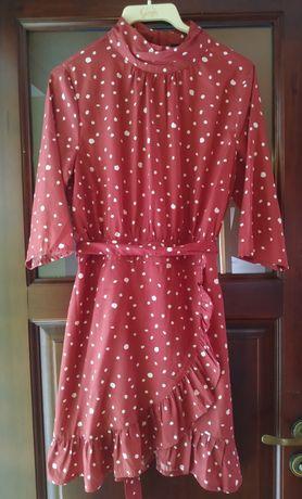 Przekładana, elegancka, ruda sukienka w białe plamki, rozmiar L