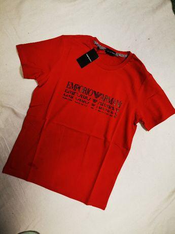 Koszulka męska czerwona napis Emporio Armani tshirt męski EA7 nowość