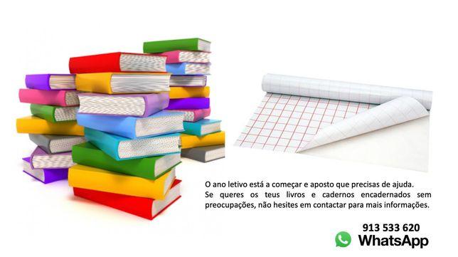 encapar livros e cadernos