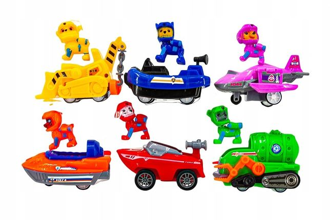 Psi patrol figurki wodna seria 12 szt zabawki baza autka
