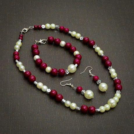 Piękny komplet biżuterii: naszyjnik(kolia), bransoletka, kolczyki