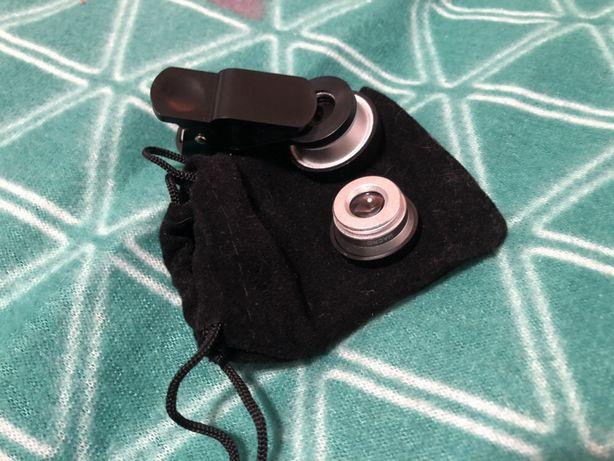 Adaptadores lente telemóvel: formato peixe e macro