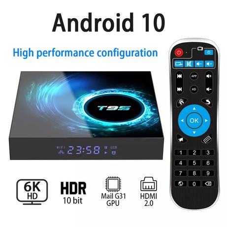Смарт ТВ бокс Sunvell T95 4/32Гб Андроид 10 6K разрешение LAN Wi-Fi