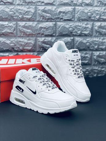 Nike Air Max 90 JUST DO IT 2021 кожаные белые кросовки  Найк красовки