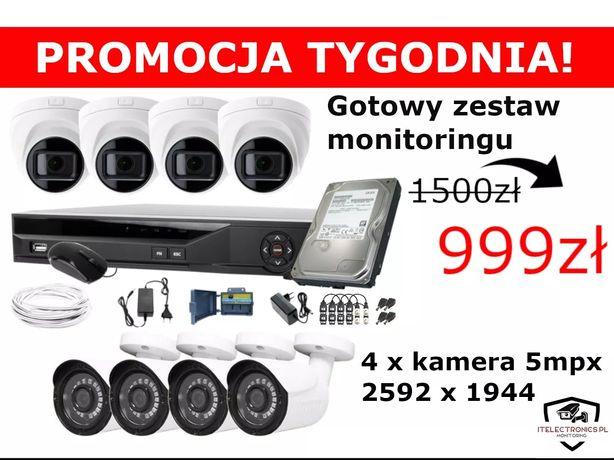 Zestaw monitoringu 4-16 kamer 5mpx Montaż/Monitoring/Kamery