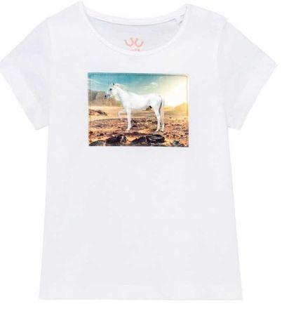 T-shirt, bluzeczka biała z motywem galopującego konia 86/92 lupilu