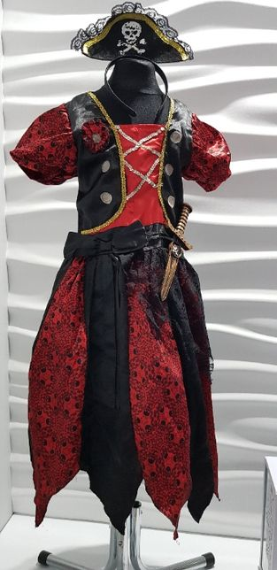 Kostium suknia PIRATKA 5-6lat r.116 opaska czapka , sztylet bal