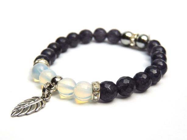 Handmade_Nowa bransoletka z kamieni naturalnych jadeit opal