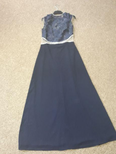Вечернее кружевное платье в пол синее р. 44
