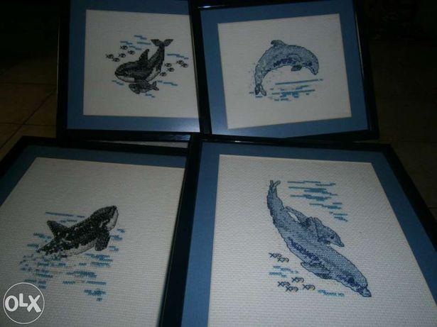 Quadros em ponto de cruz mar golfinhos