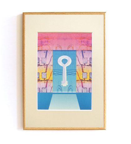 Pastelowy obraz do pokoju, grafika do sypialni, różowo-niebieski obraz