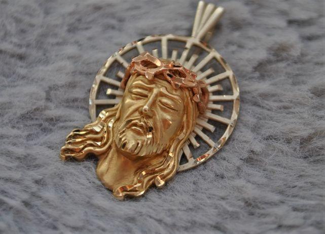 Duży męski złoty medalik 14k 585 Twarz Pana Jezusa , Złota zawieszka