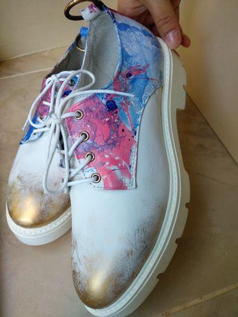 Туфли дерби, 39р кожа 100%, женские дизайнерские, эксклюзив