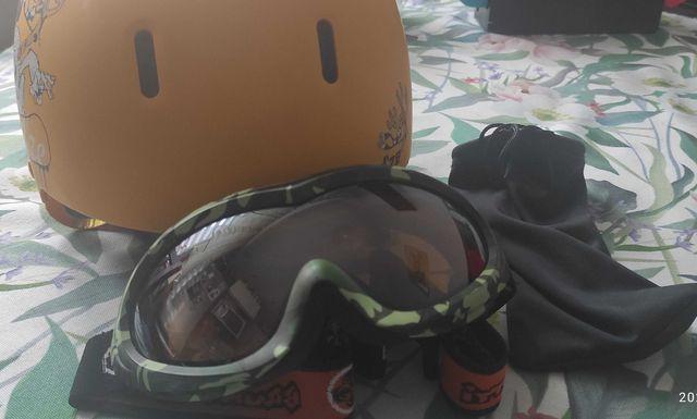 Kask narciarski dla dziecka plus okulary