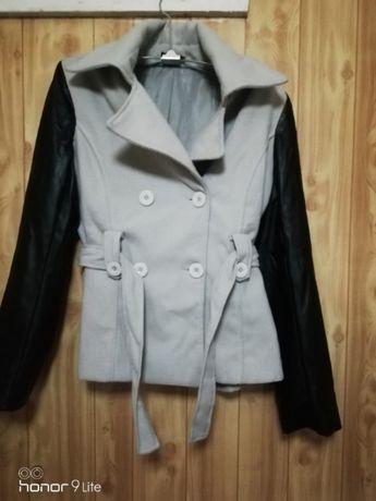 Женское пальто, куртка с кожаными рукавами